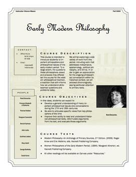 Early Modern Philosophy Syllabus