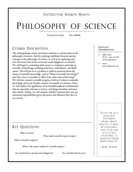 Philosophy of Science Syllabus