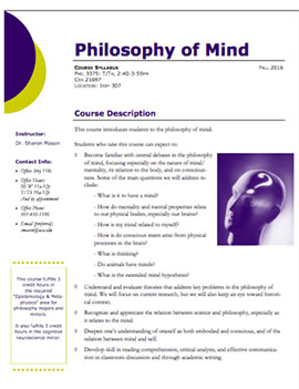Philosophy of Mind syllabus