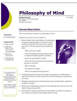 Philosophy of Mind syllabus